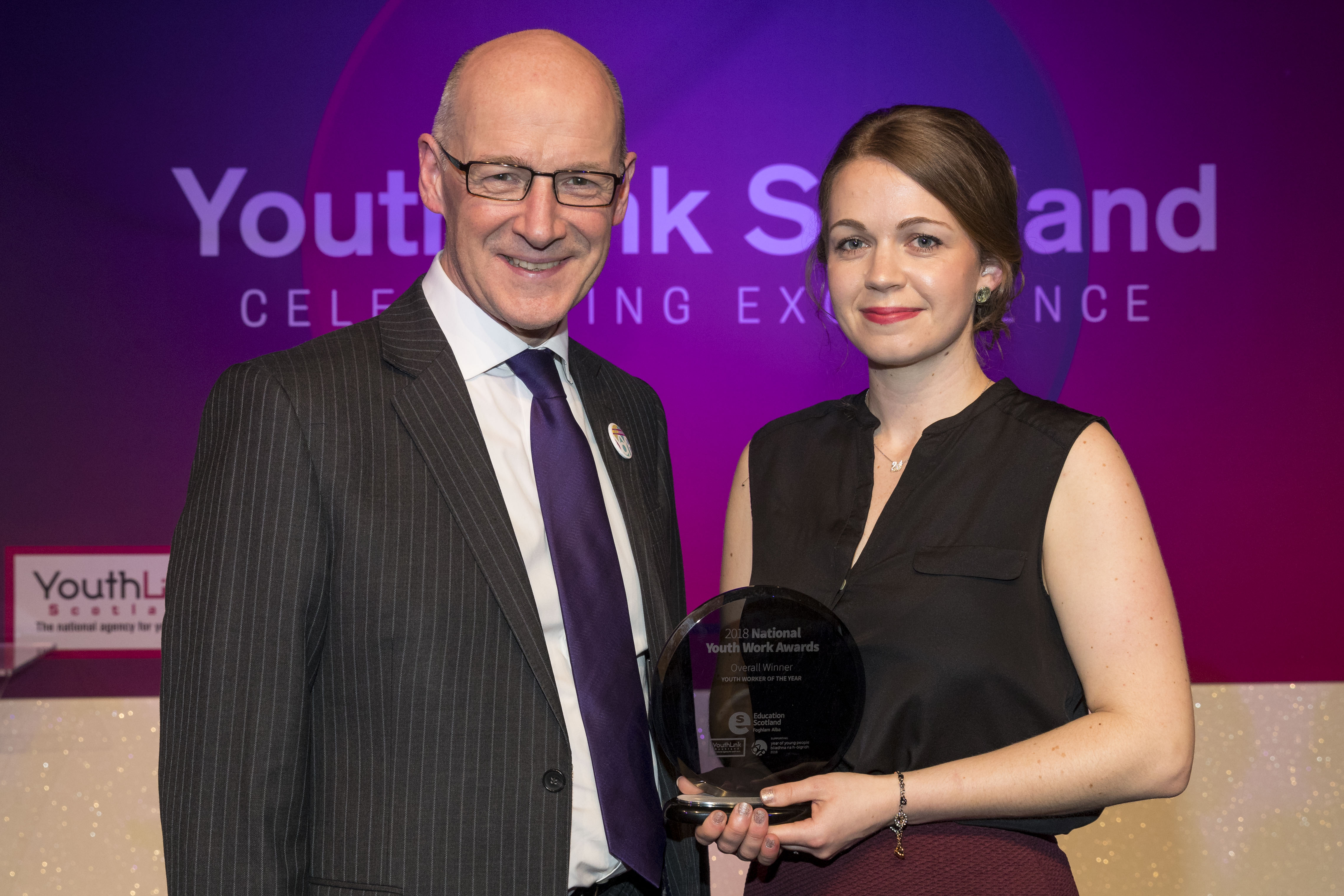 Deputy First Minister John Swinney and Matilda Lomas who has been named Scotland's Youth Worker of the Year 2018 (Alan Rennie/YouthLink Scotland/PA)