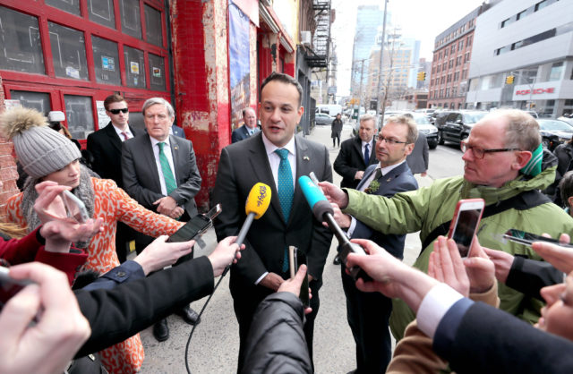 Taoiseach Leo Varadkar talks to the media in the Hell's Kitchen district of New York City (Niall Carson/PA)