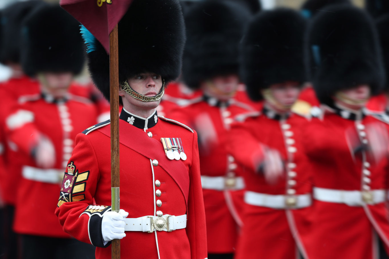 Irish Guards during the regiment's St Patrick's Day parade at Cavalry Barracks in Hounslow (Jonathan Brady/PA)