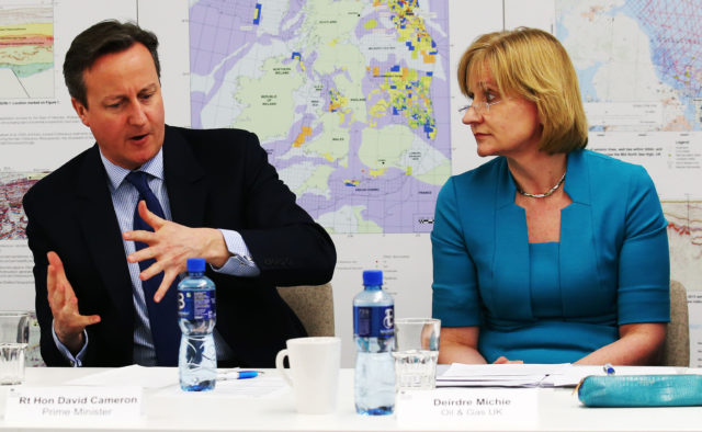 Oil and Gas UK chief executive Deirdre Michie with former prime minister David Cameron. (Andrew Milligan/PA)
