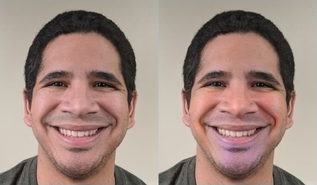 A happy face as originally photographed (left) next to the same face retouched to enhance colours associated with happiness (Ohio State University/PA)