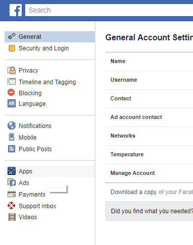 The general settings tab on Facebook (PA) all about facebook data
