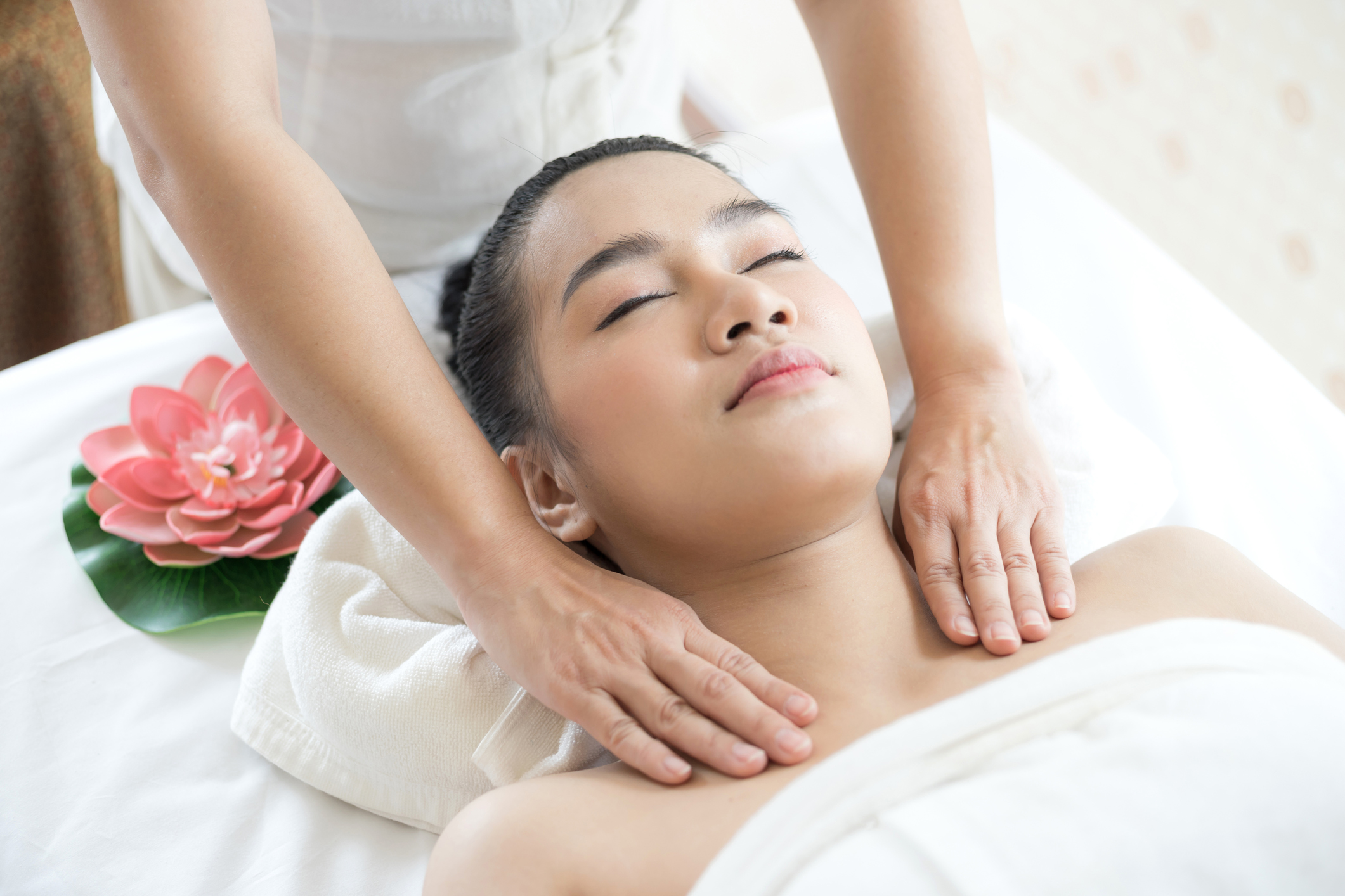 Woman having MLD massage