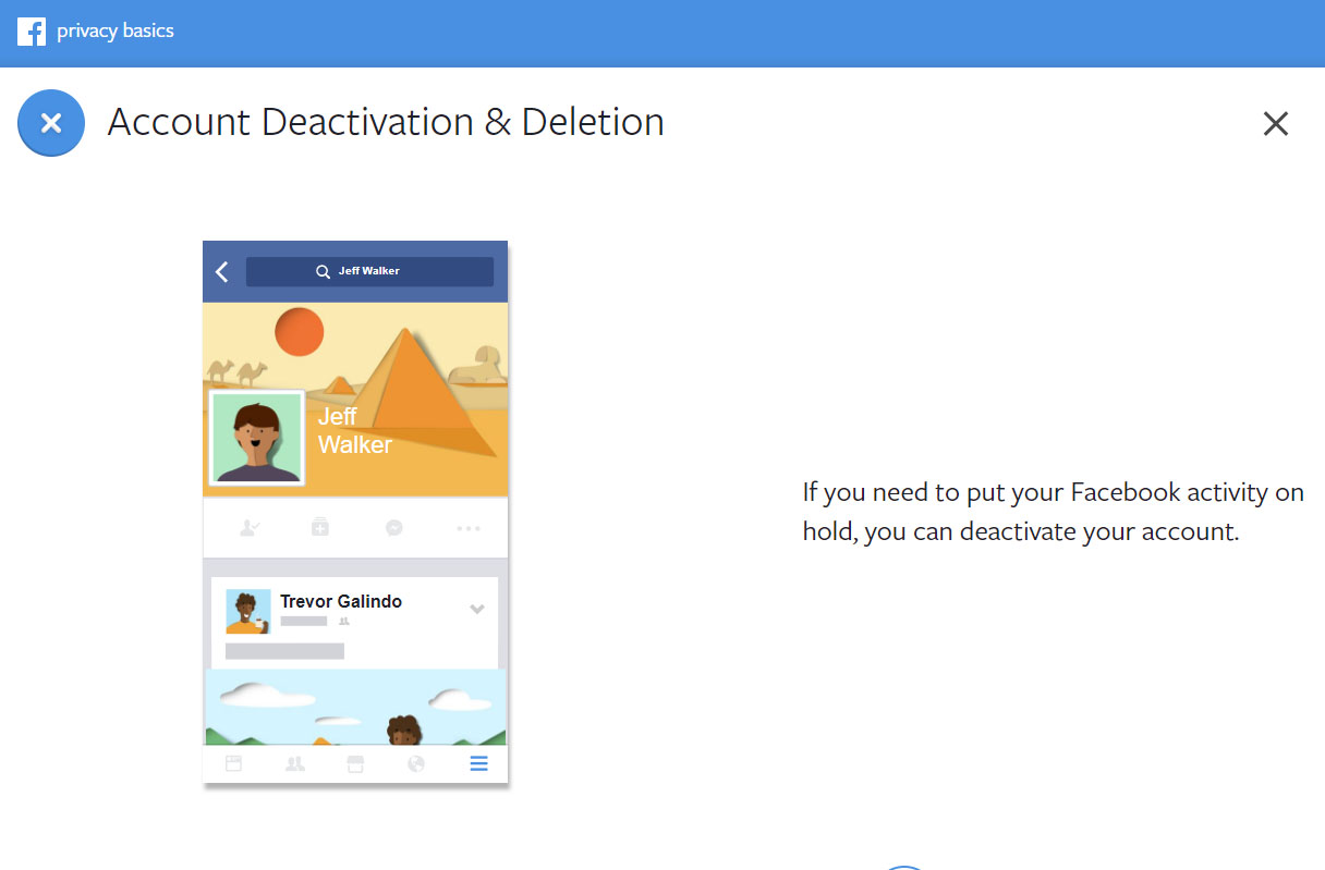 Screenshot from the Facebook advice centre about how to deactivate and delete your account