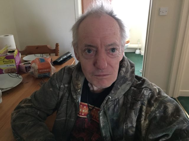 Maurice Broom, 74, whose home at Hemsby has partially collapsed onto the beach.