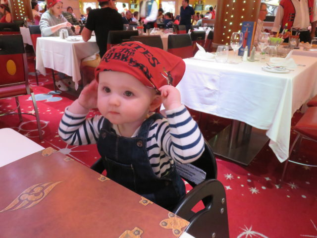 Evie in the Animator's Palate restaurant on Pirate Night