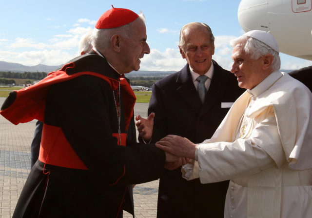Cardinal O'Brien welcomed Pope Benedict XVI on his visit to Scotland in 2010 (Andrew Milligan/PA)