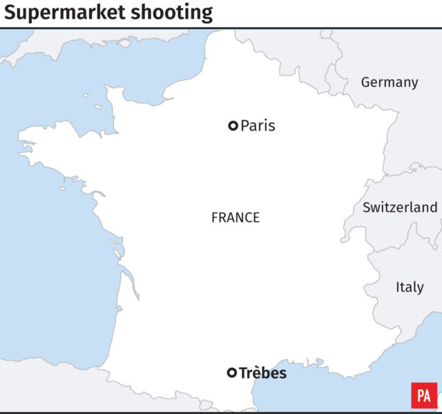 Graphic locates Trebes in southern France where a gunman is holding several people hostage