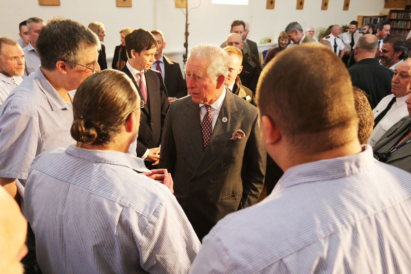 The Prince of Wales meets members of the prison choir (Marc Giddings/The Sun/PA)