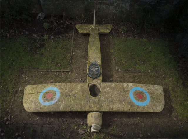 A memorial to Capt Eric Lubbock in the shape of a plane has been listed at Grade II (Historic England/PA)