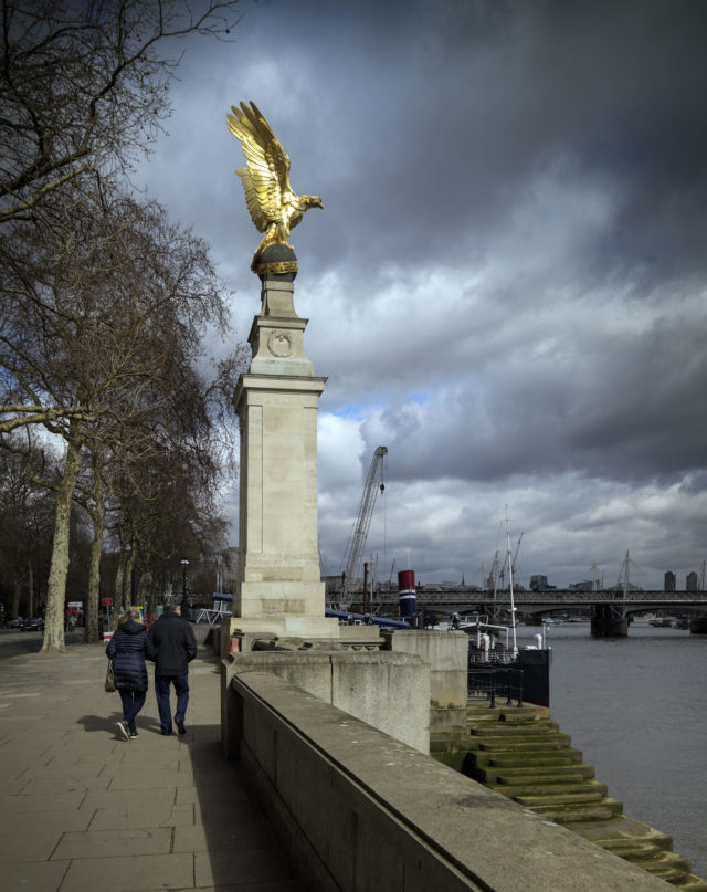 The national memorial to the RAF stands on Victoria Embankment, London (Historic England/PA)