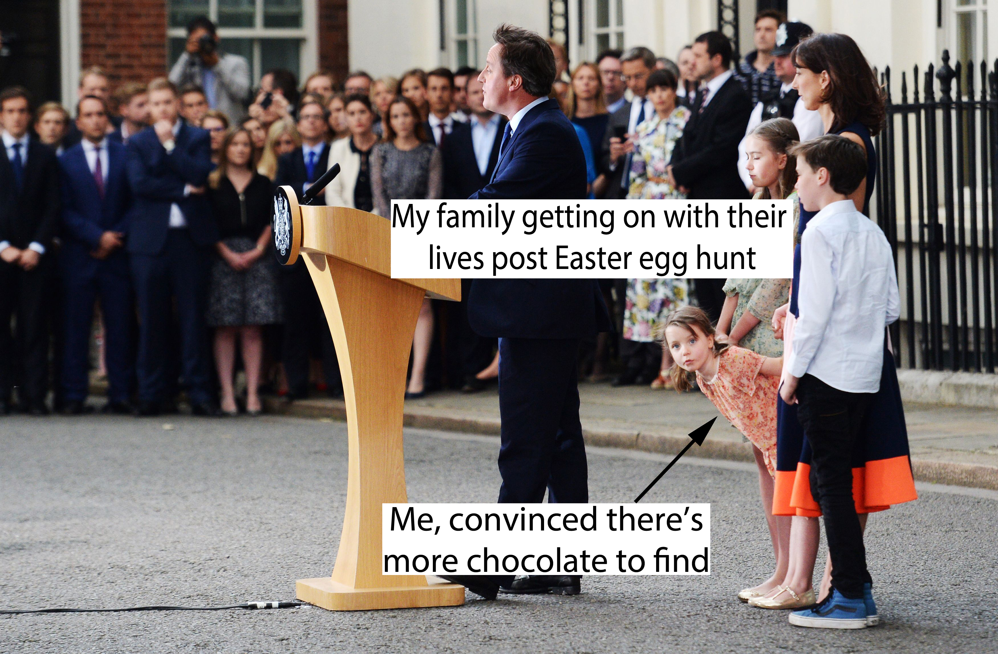 David Cameron outside Number 10 with his family