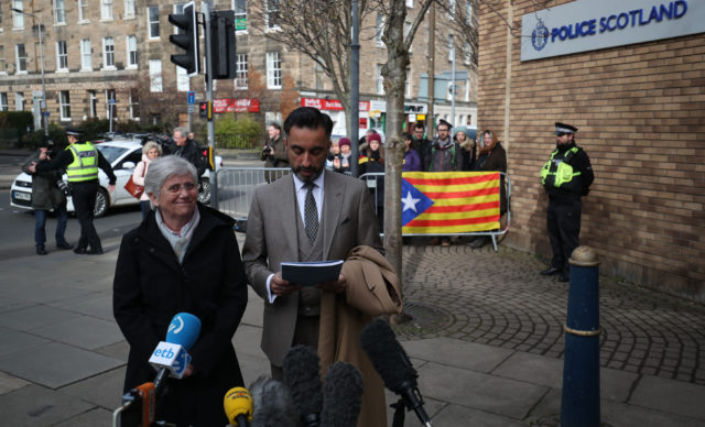 A group of supporters gathered at the police station as Prof Ponsati and her lawyer spoke to the media (Jane Barlow/PA)