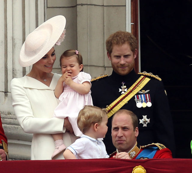 Prince Harry with nephew Prince George and niece Princess Charlotte, and the Duke and Duchess of Cambridge on the palace balcony for Trooping the Colour (Steve Parsons/PA)
