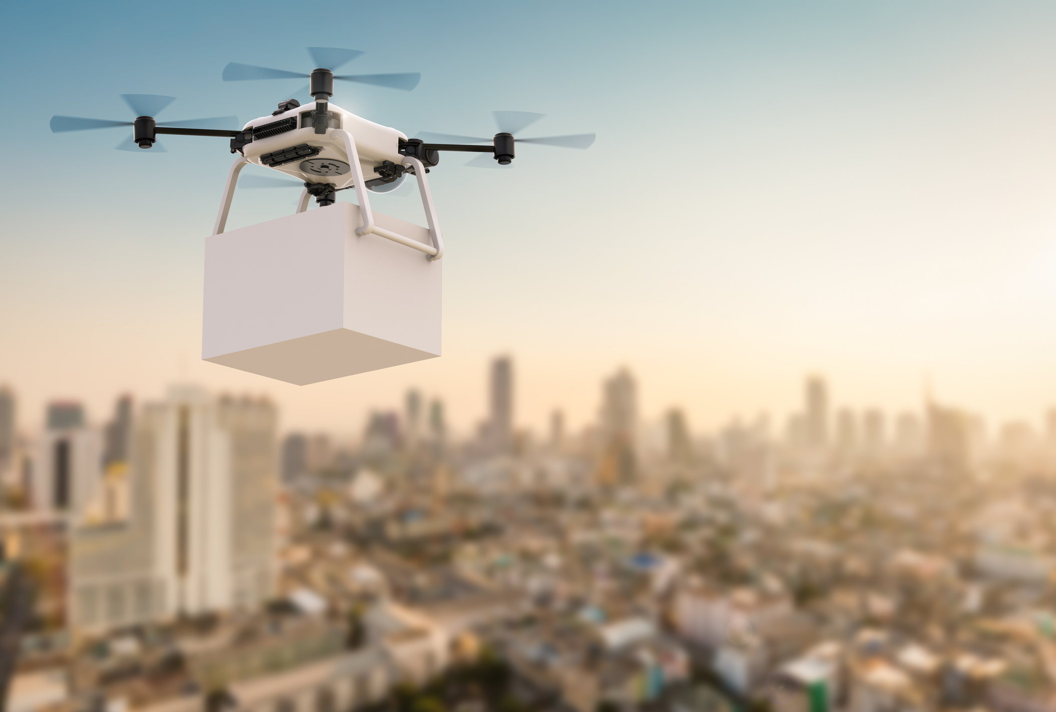 3d rendering delivery drone flying with cityscape background (Thinkstock/PA)