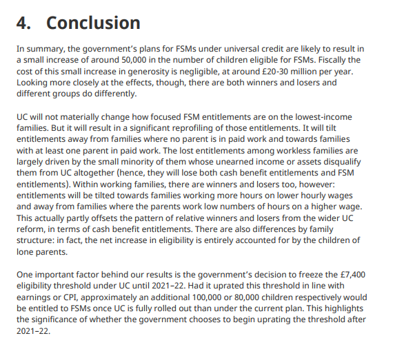 The conclusion of the IFS report, Free School Meals Under Universal Credit