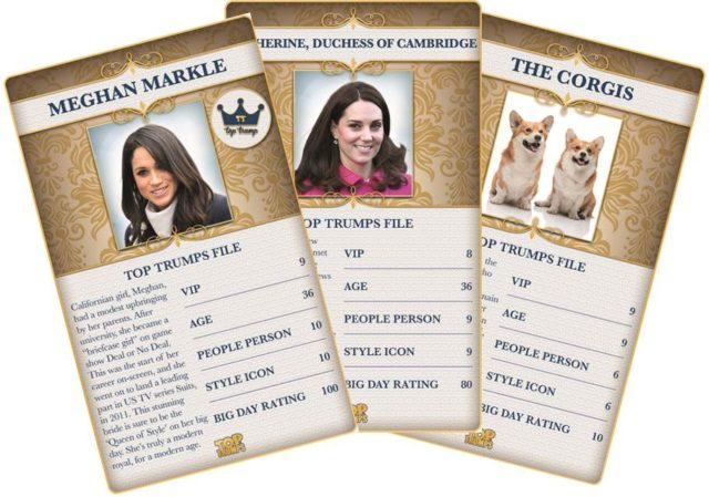 Meghan, Kate and the Corgis in the special Top Trumps pack (Winning Moves/PA)