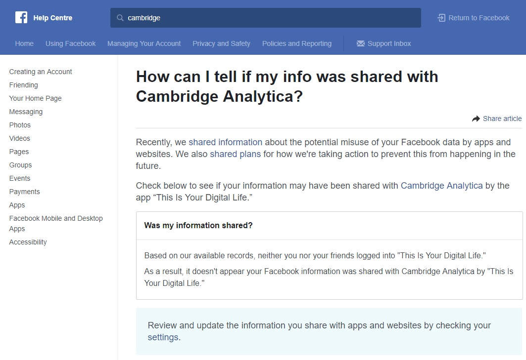 How to find out if your Facebook data was shared