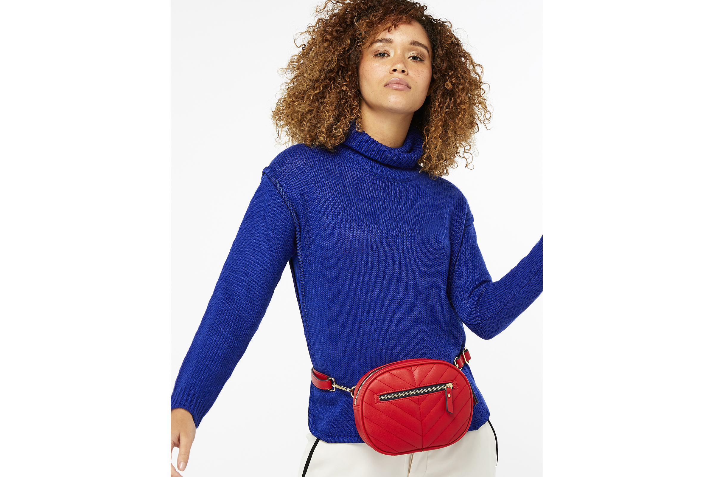 model wearing Accessorize Otto Multiway Quilted Bumbag (clothing, stylist's own)