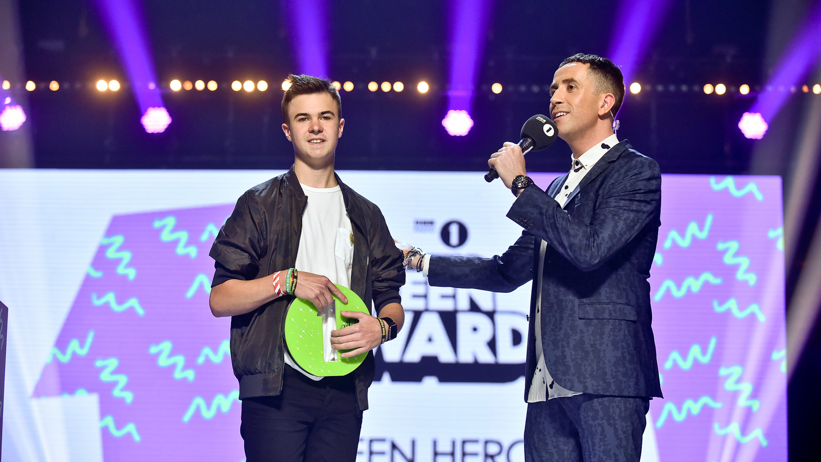 Lewis with Nick Grimshaw at the Radio 1 Teen Hero awards. (BBC Radio 1/PA)