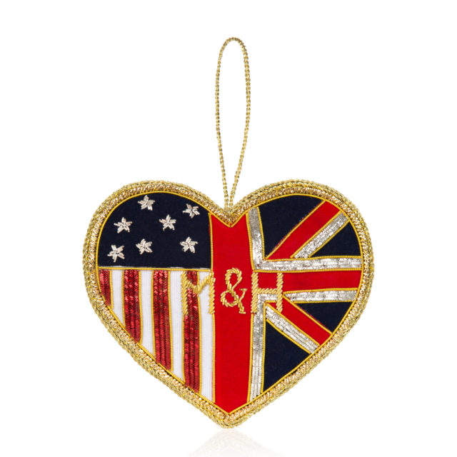 An embroidered M&H heart by the Royal Collection Trust (Royal Collection Trust/ Her Majesty Queen Elizabeth II 2018/PA)