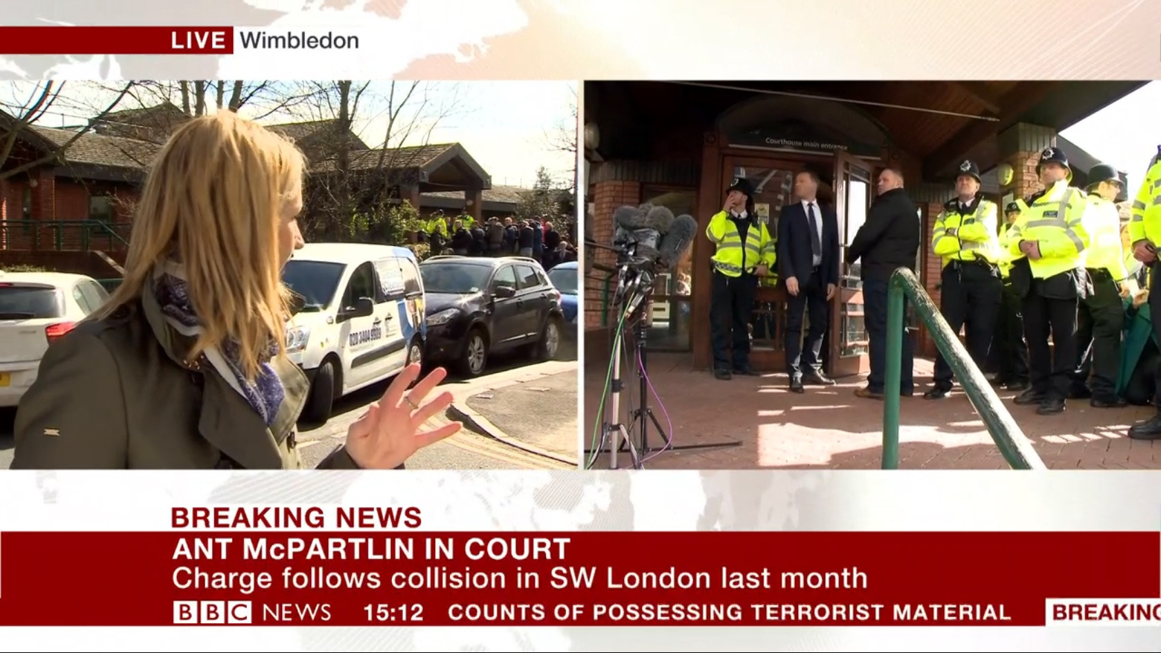 BBC reporter Alison Freeman, who was outside Wimbledon Magistrates Court (BBC News/PA)