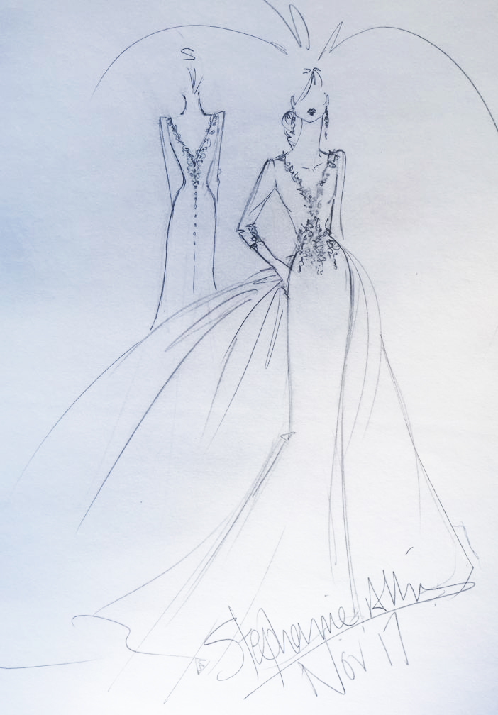 Stephanie Allin's sketch of what she imagines Meghan Markle's wedding dress will look like