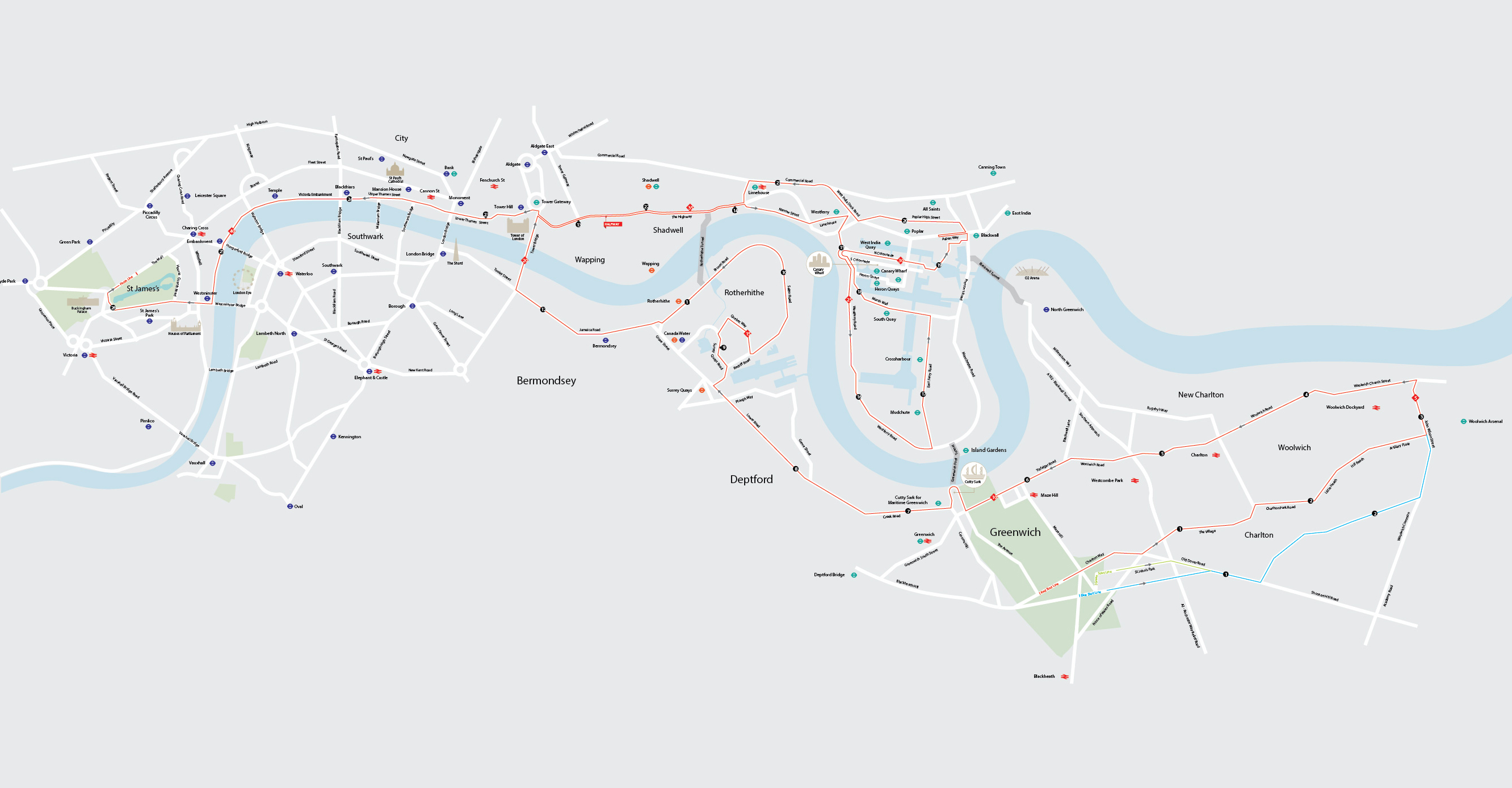 The route (Virgin Money London Marathon /PA)