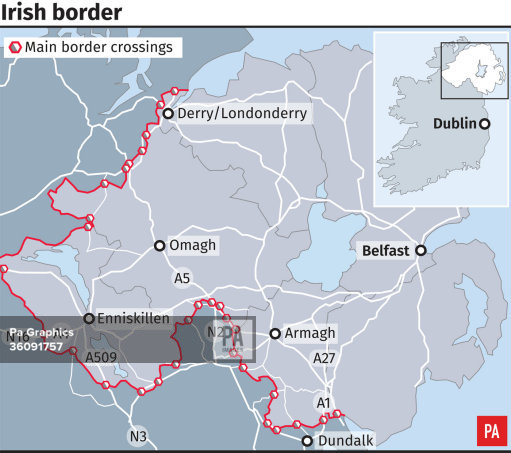 The border between Northern Ireland and the Republic (PA Graphics)