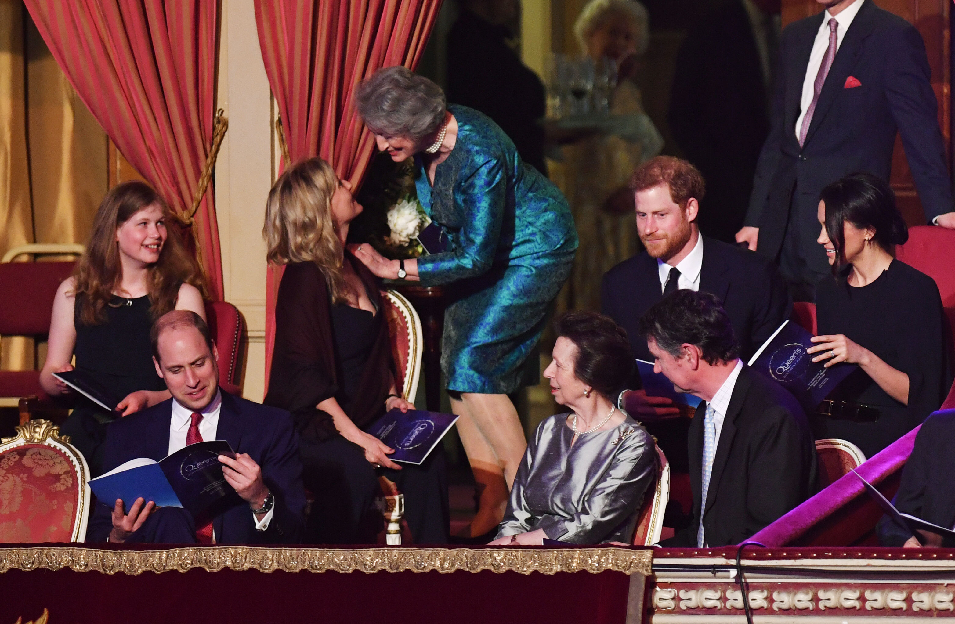 The Duke of Cambridge, Lady Louise Windsor, the Princess Royal, Prince Harry and Meghan Markle were seated in the royal box (John Stillwell/PA)