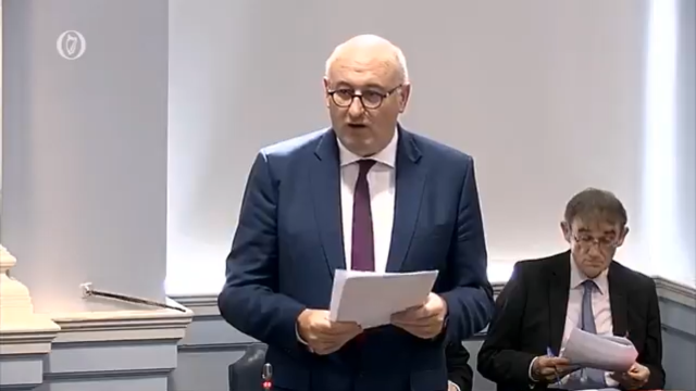 Phil Hogan addresses the Irish Parliament's Seanad (Screenshot from Oireachtas TV)