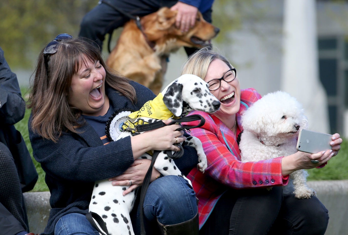 Politicians Ruth Maguire (left) with Harley the dog and Gillian Martin with her dog Lucy take a selfie (Jane Barlow/PA)