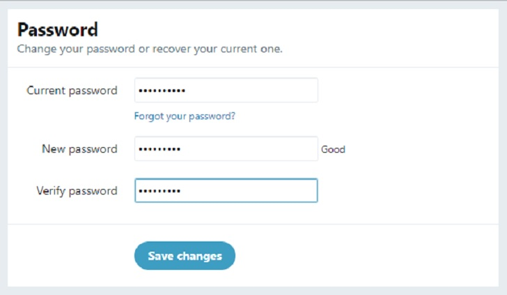 how to change your twitter password screenshot