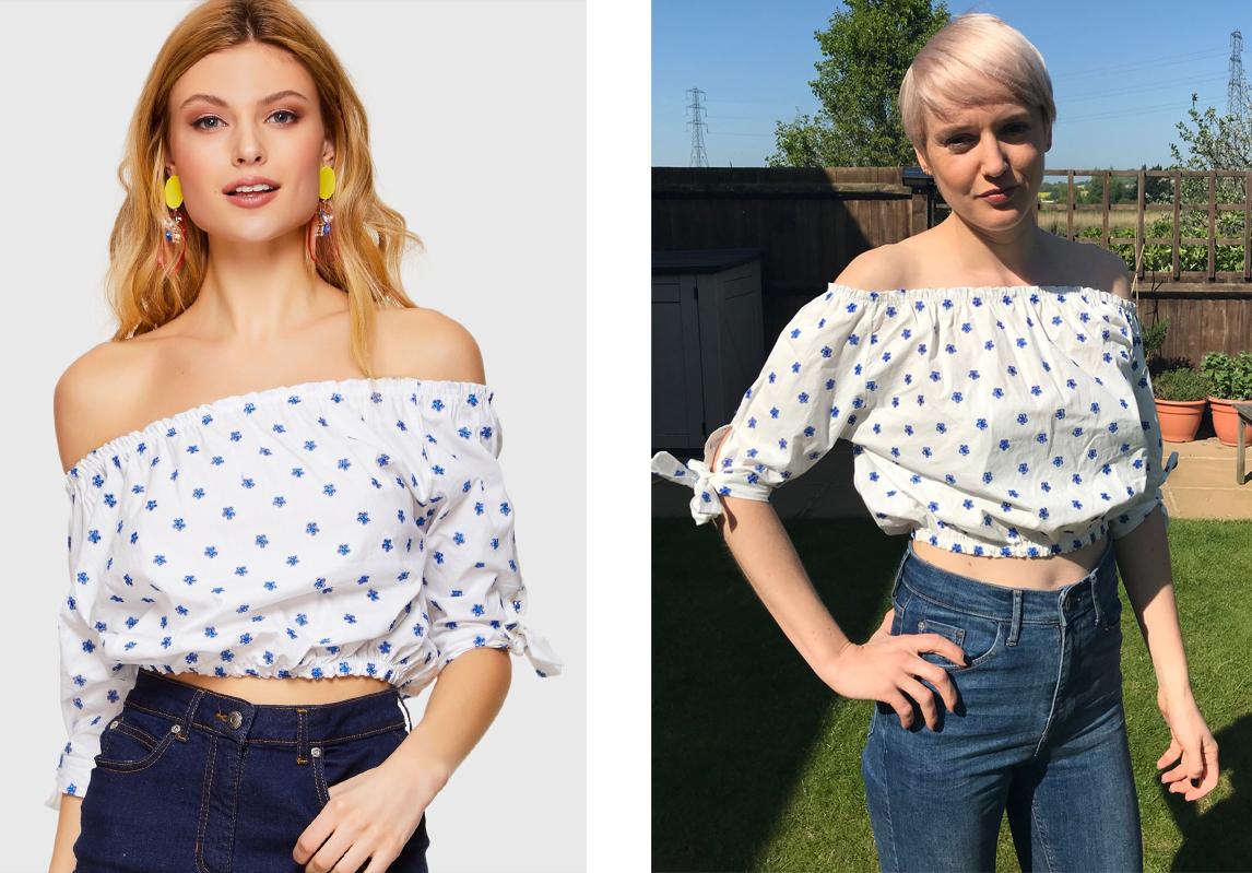 1073a10af02a model and reviewer wearing Shein Blue Floral Print Elastic Shoulder Blouse