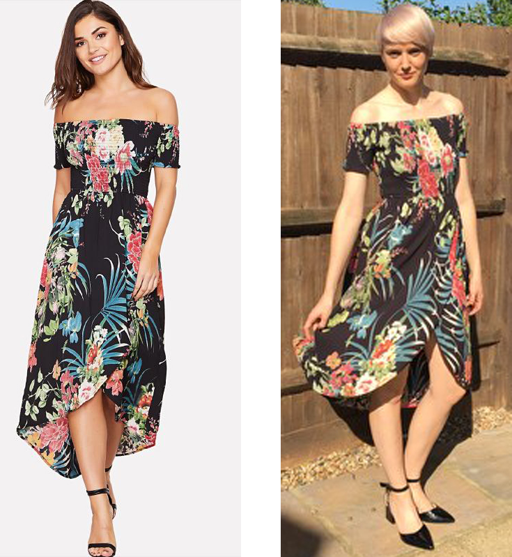 3c66c41de4 model and reviewer wearing Shein Tropical Floral Shirring Detail Dress