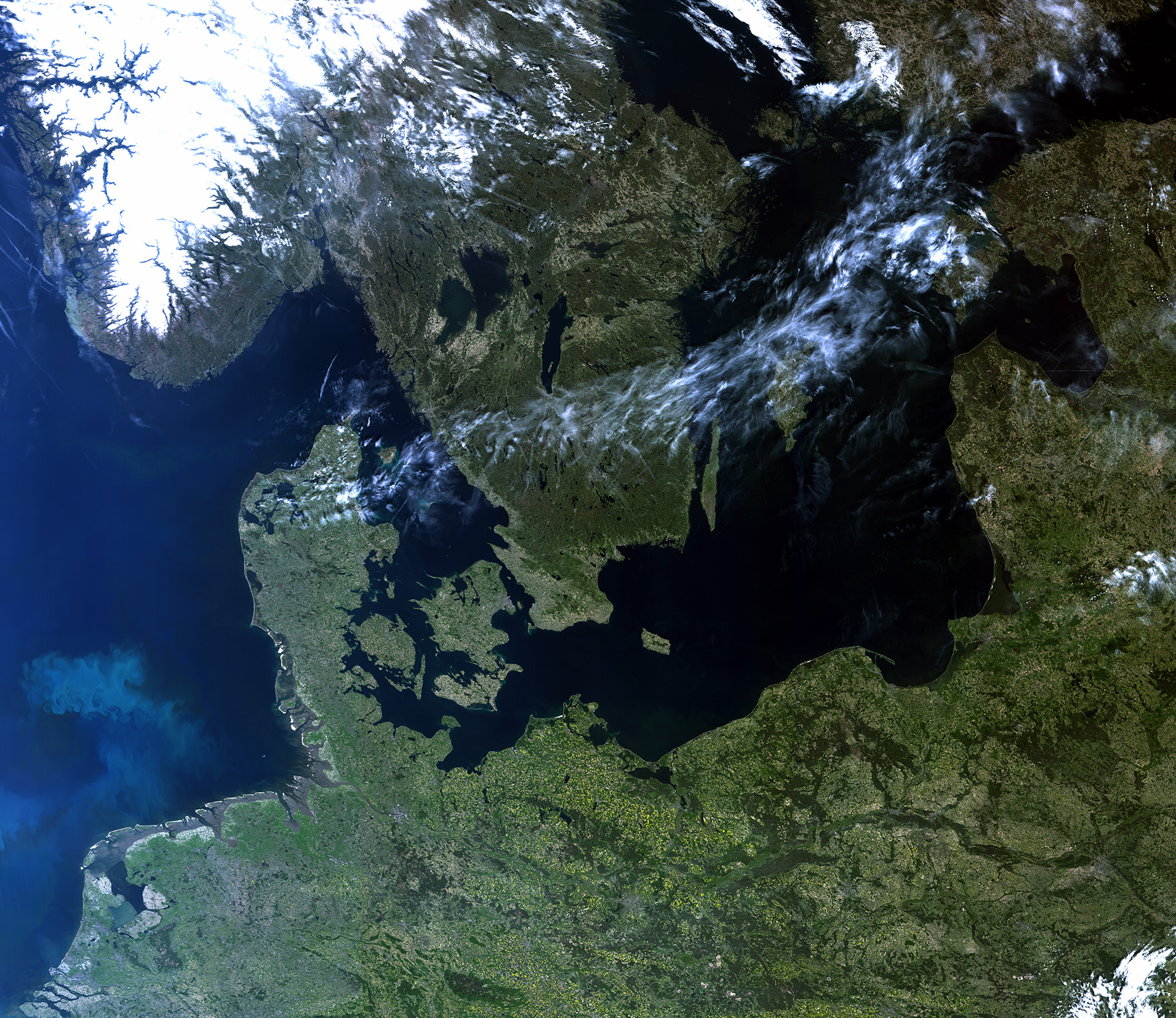 rare cloud-free view of Northern Europe