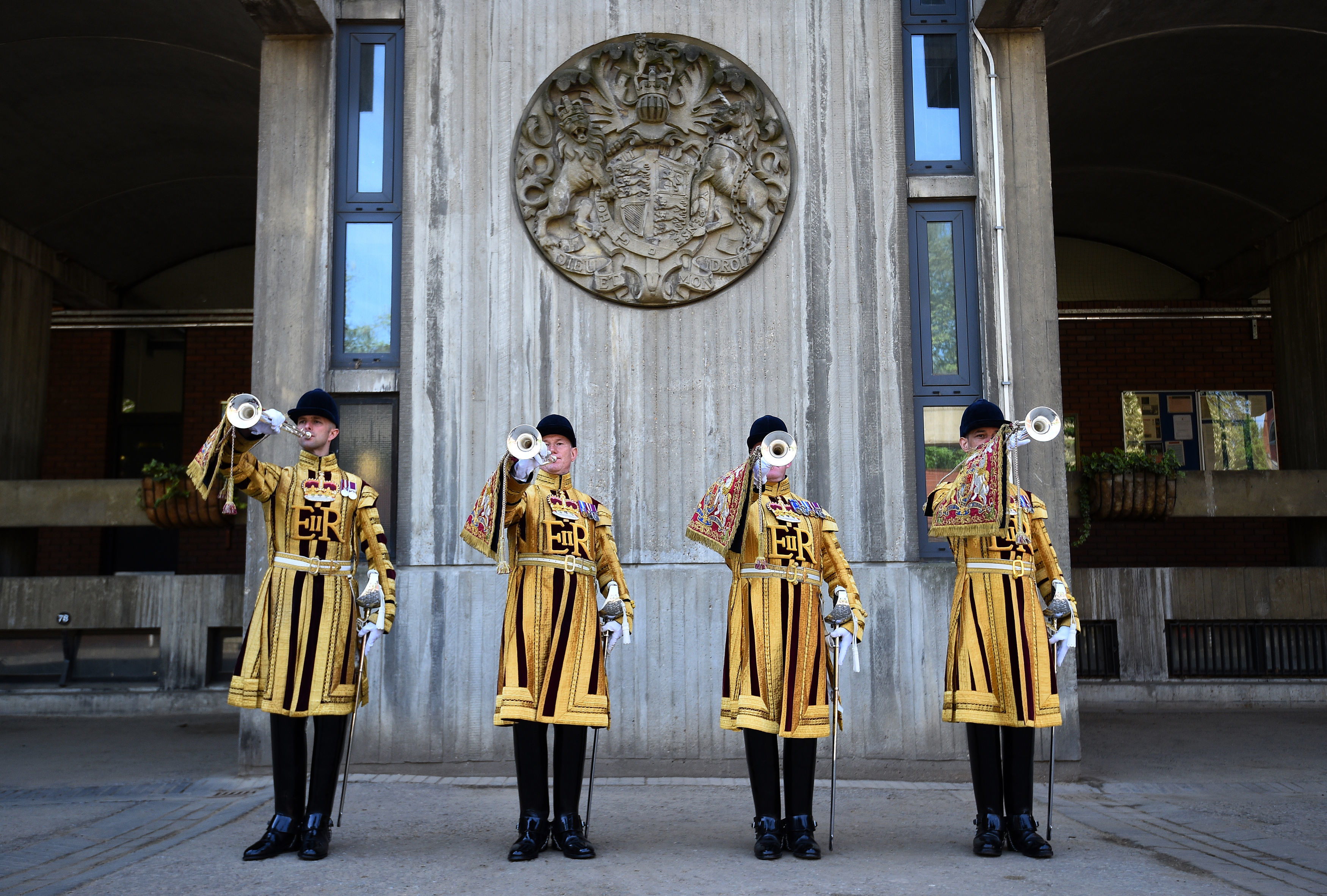 State trumpeters play in the Regimental Square at Hyde Park Barracks (Kirsty O'Connor/PA)