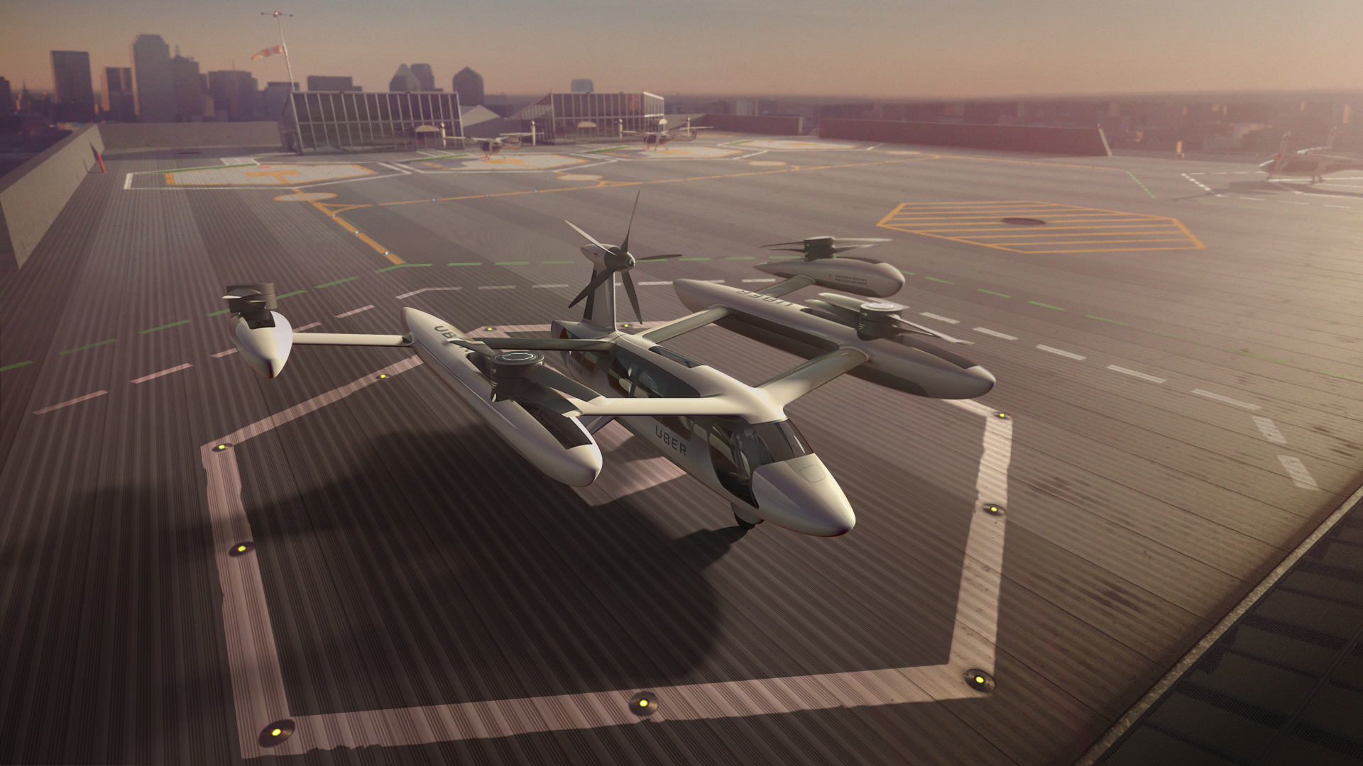 Uber flying taxis artist impression