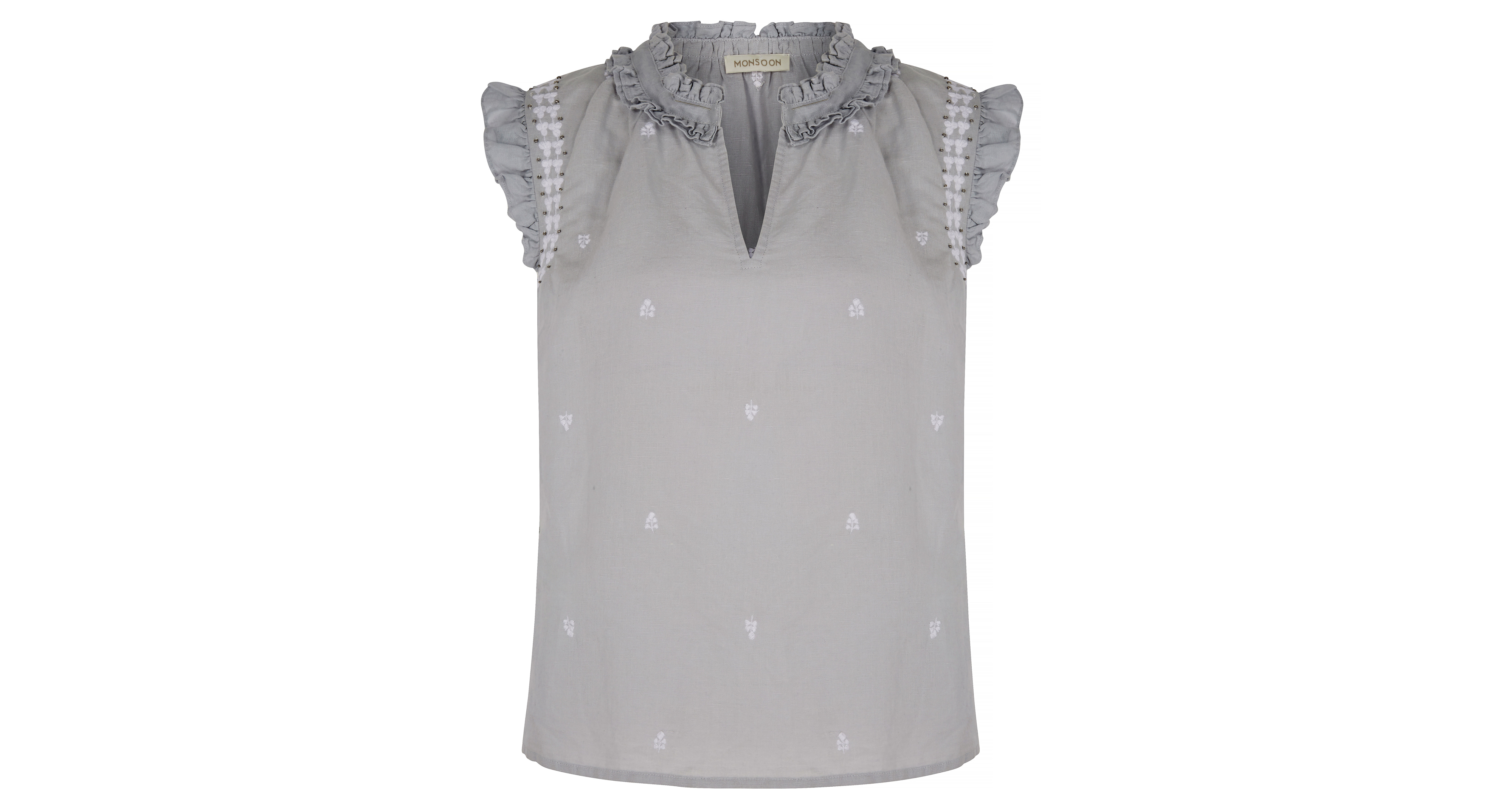 Monsoon Rita Linen Embroidered Sleeveless Top