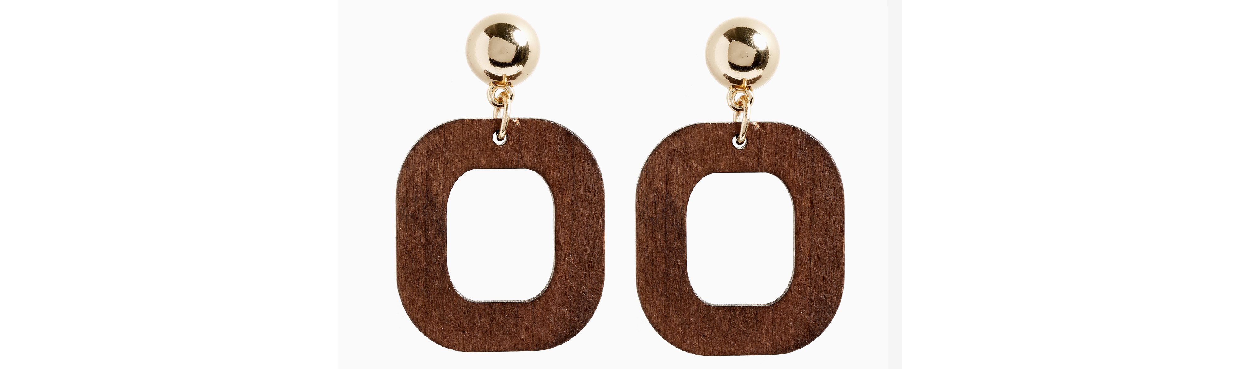 Next Gold Tone Geometric Wood Effect Drop Earrings