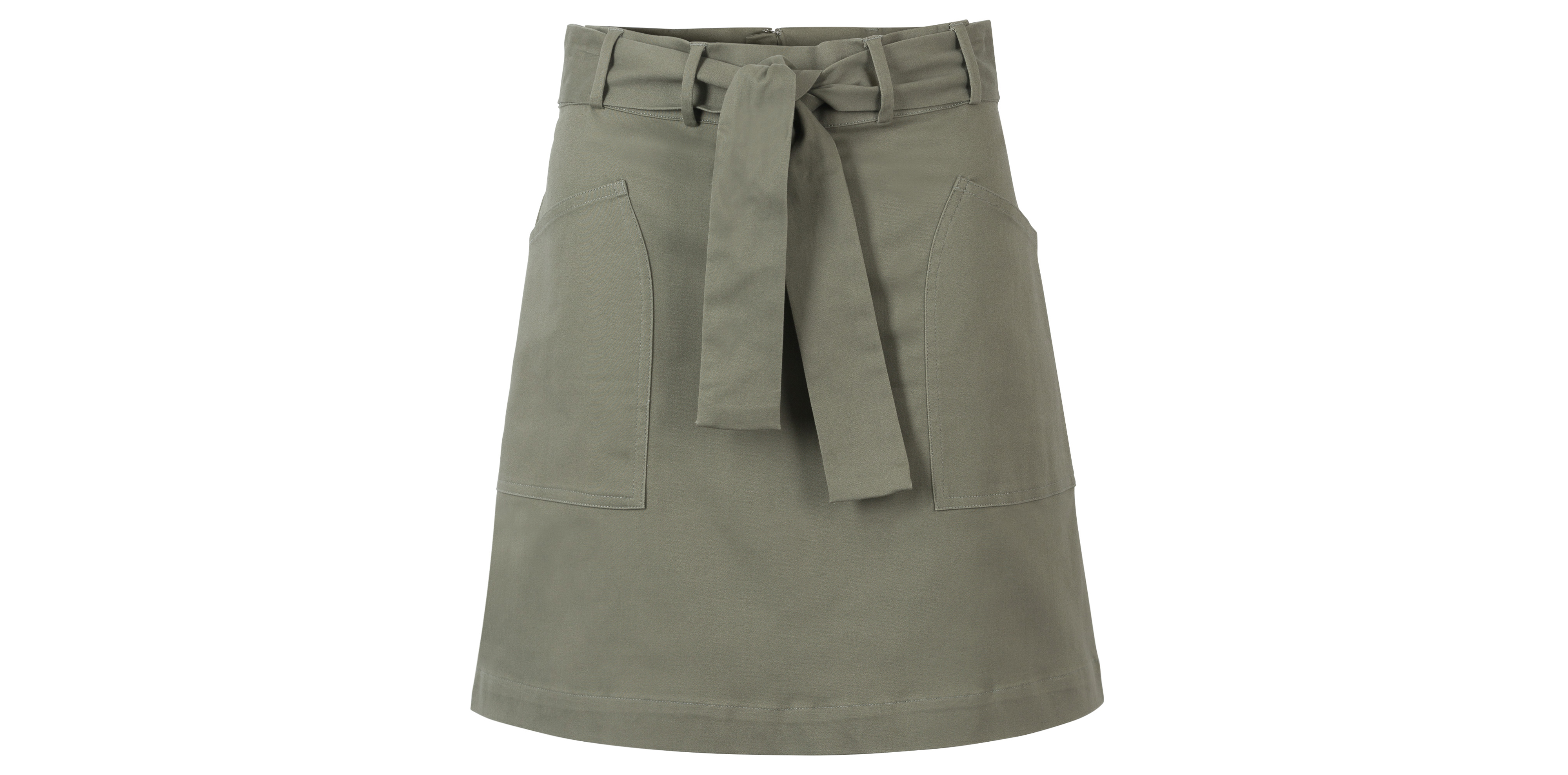 Oliver Bonas Divide Utility Khaki Cotton Mini Skirt