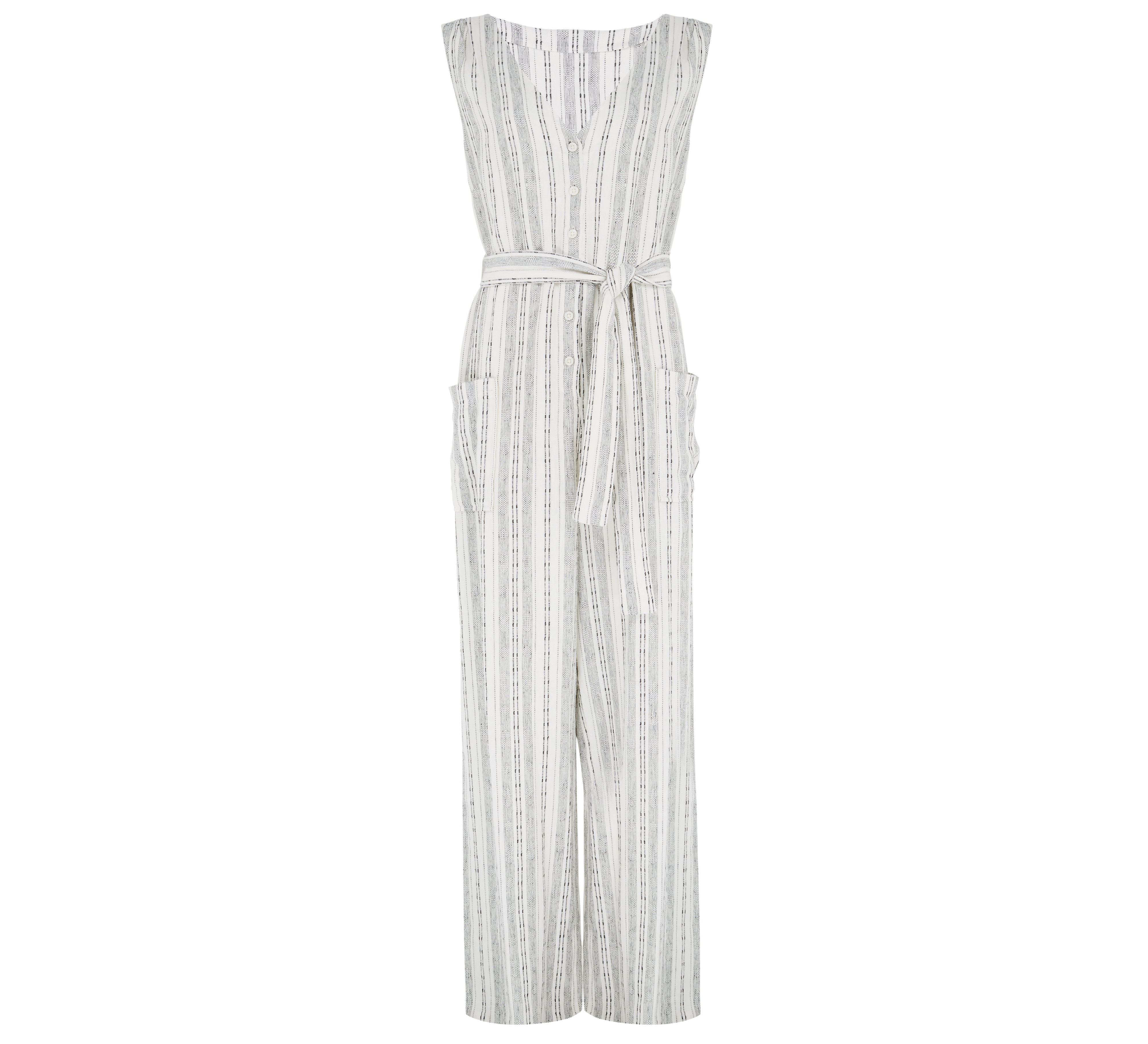 Marks and Spencer Linen Rich Striped Jumpsuit with Belt