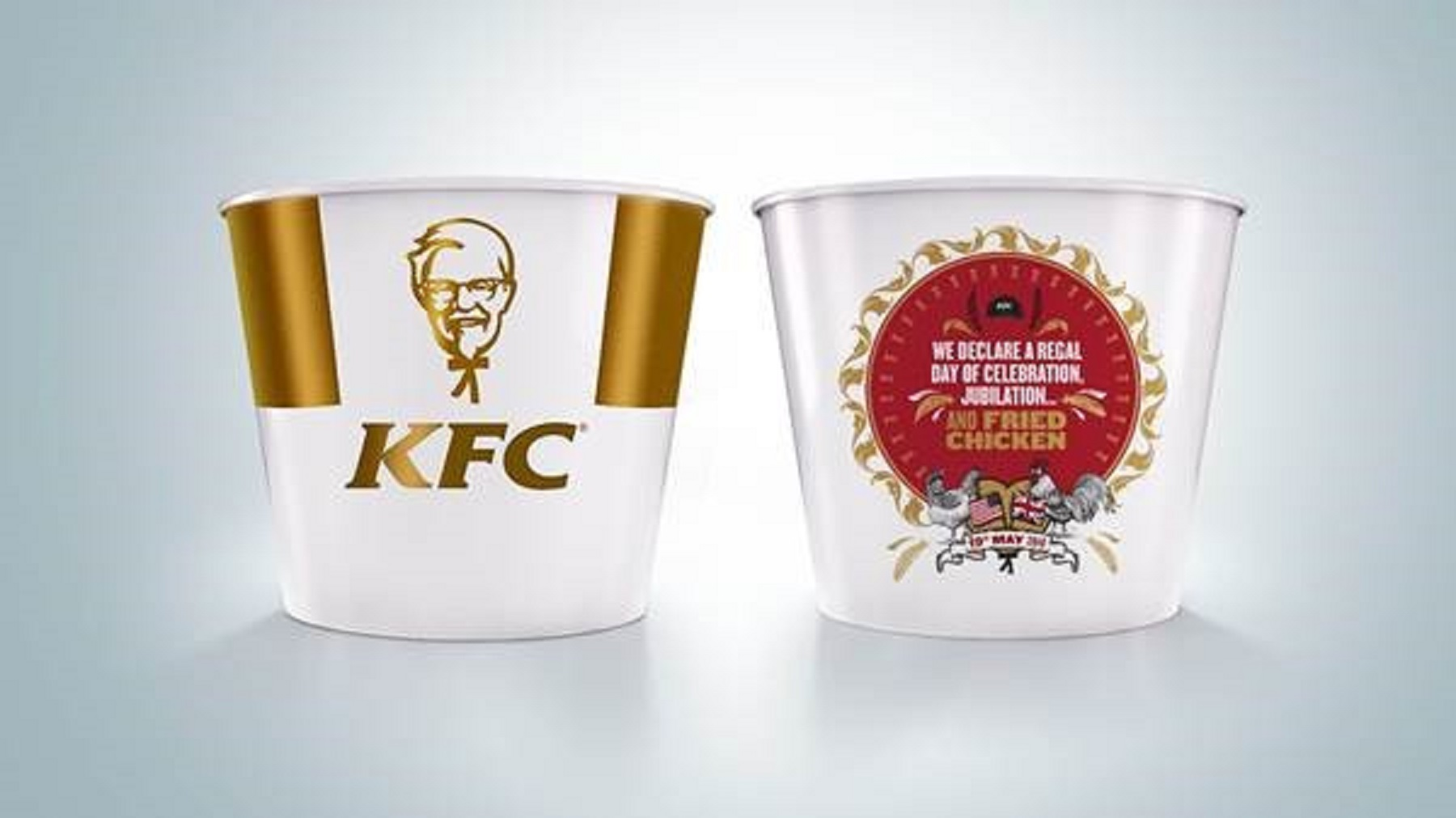 A KFC bucket to commemorate the royal wedding of Prince Harry and Meghan Markle