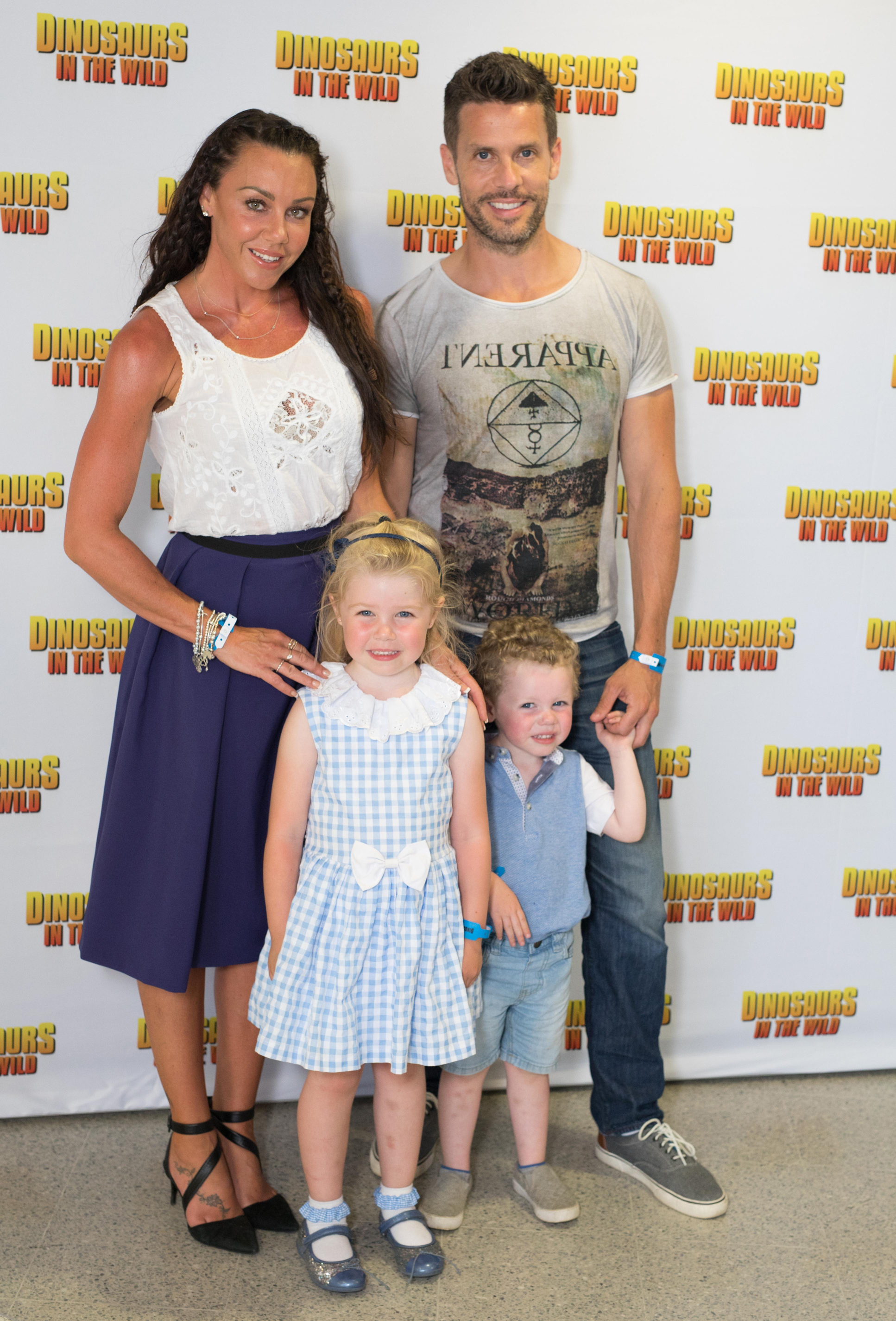 Michelle Heaton and Hugh Hanley with Faith, and AJ, n 2017. (David Parry/PA)