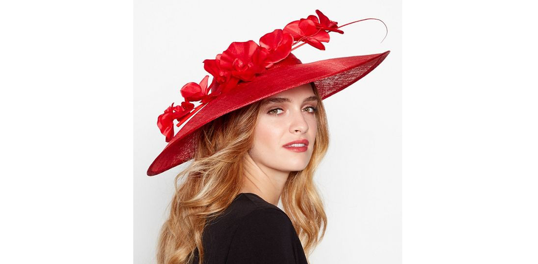 J by Jasper Conran Red Sinamay Orchid Saucer Fascinator