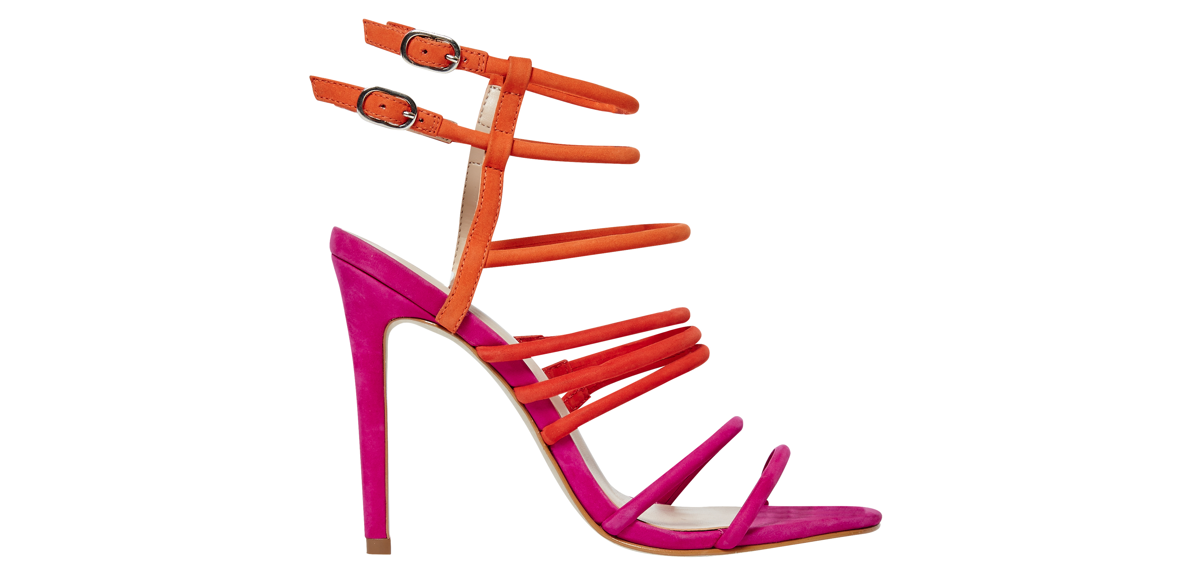 Office Highlighter Tubular Strap Heels Red Pink