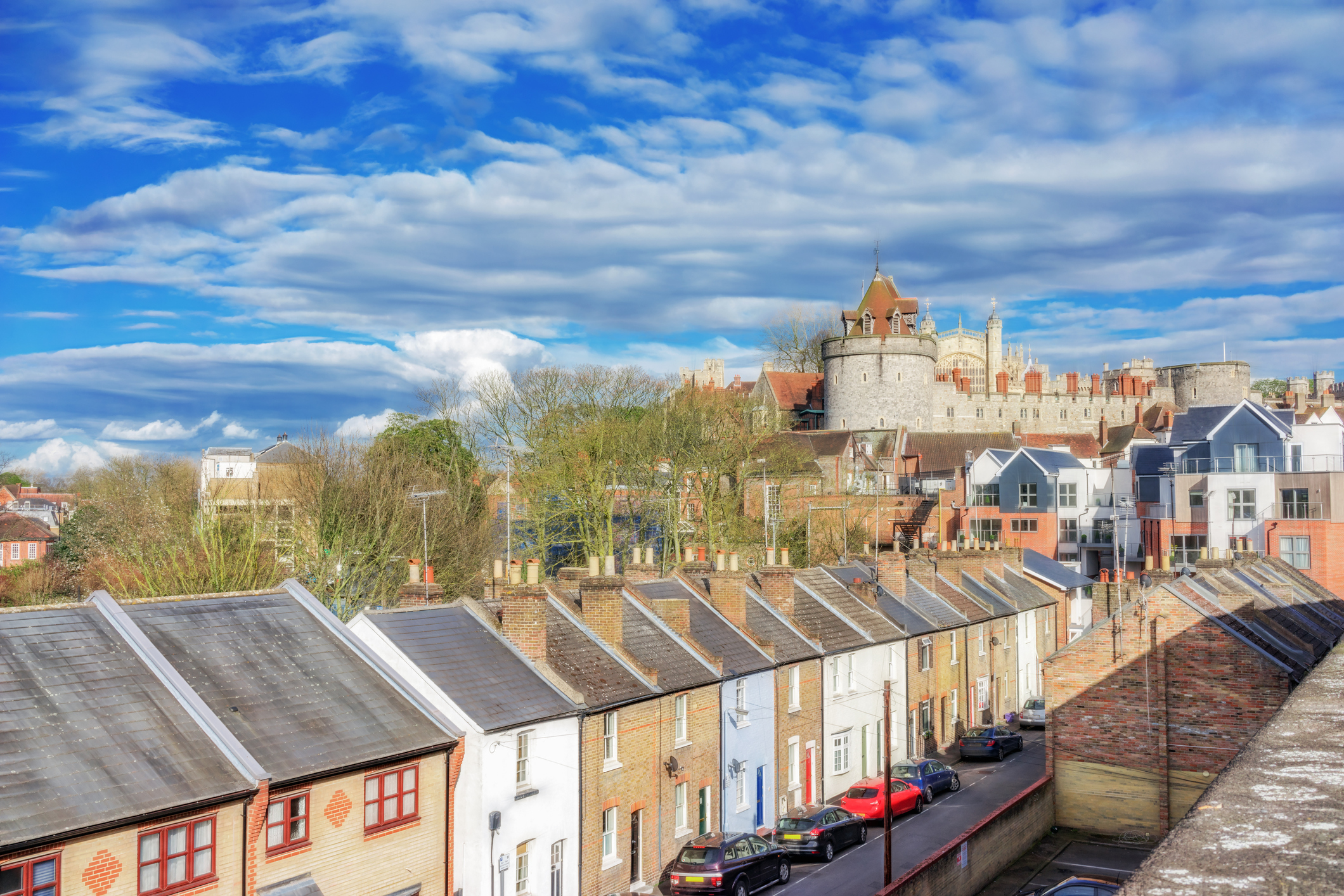 Victorian terraced houses against the backdrop of Windsor Castle (Thinkstock/PA)