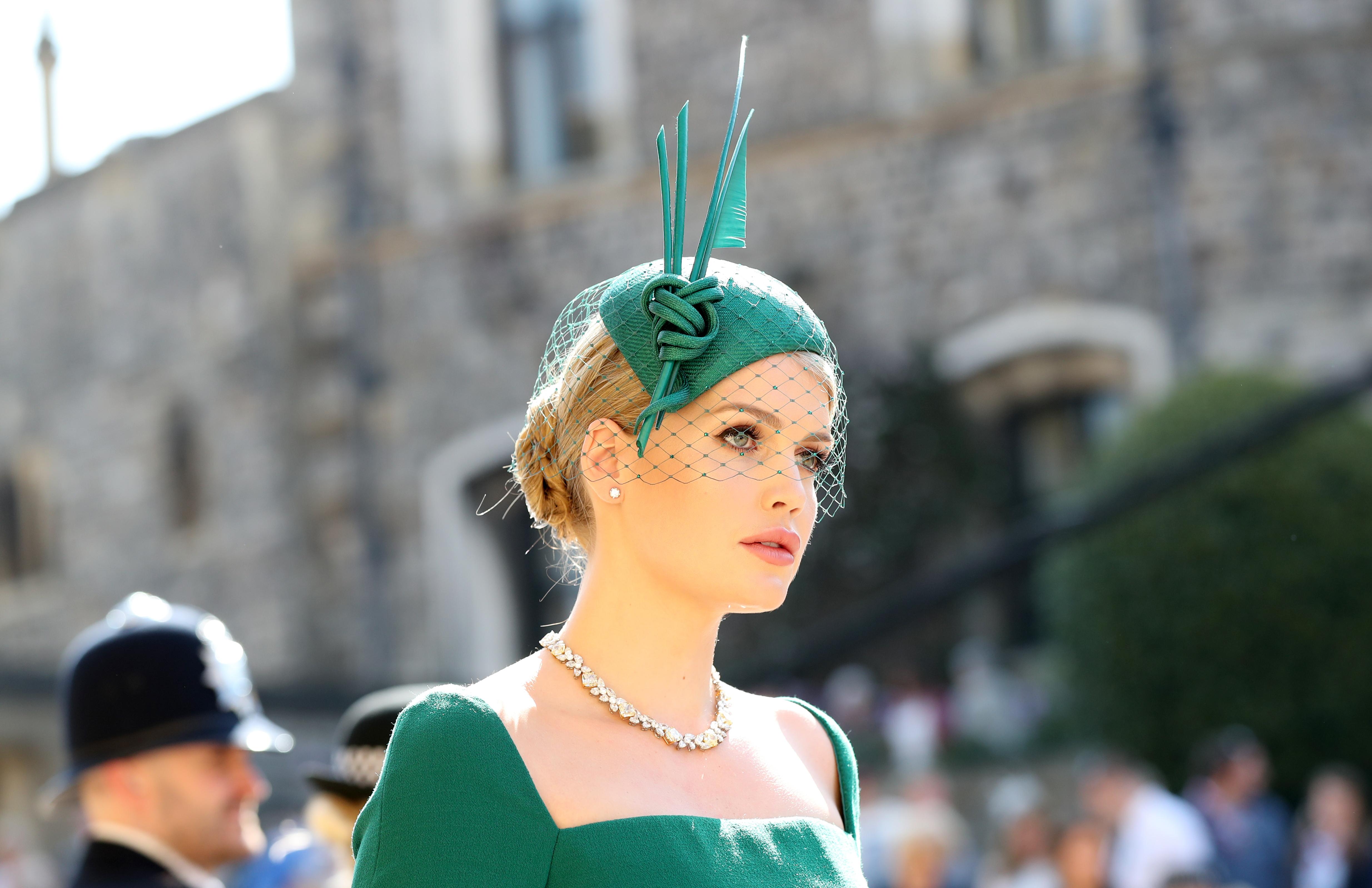 Lady Kitty Spencer chose an emerald green fascinator with sculptural  detailing (Gareth Fuller PA) 2e2e392b0a7