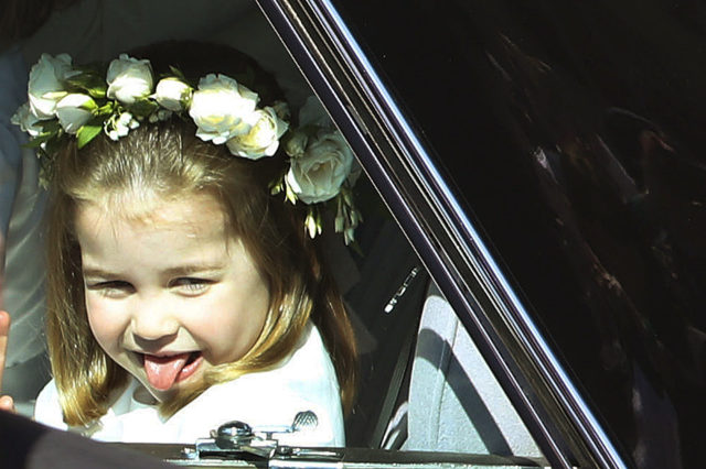 Princess Charlotte sticks her tongue out (Andrew Milligan/PA)