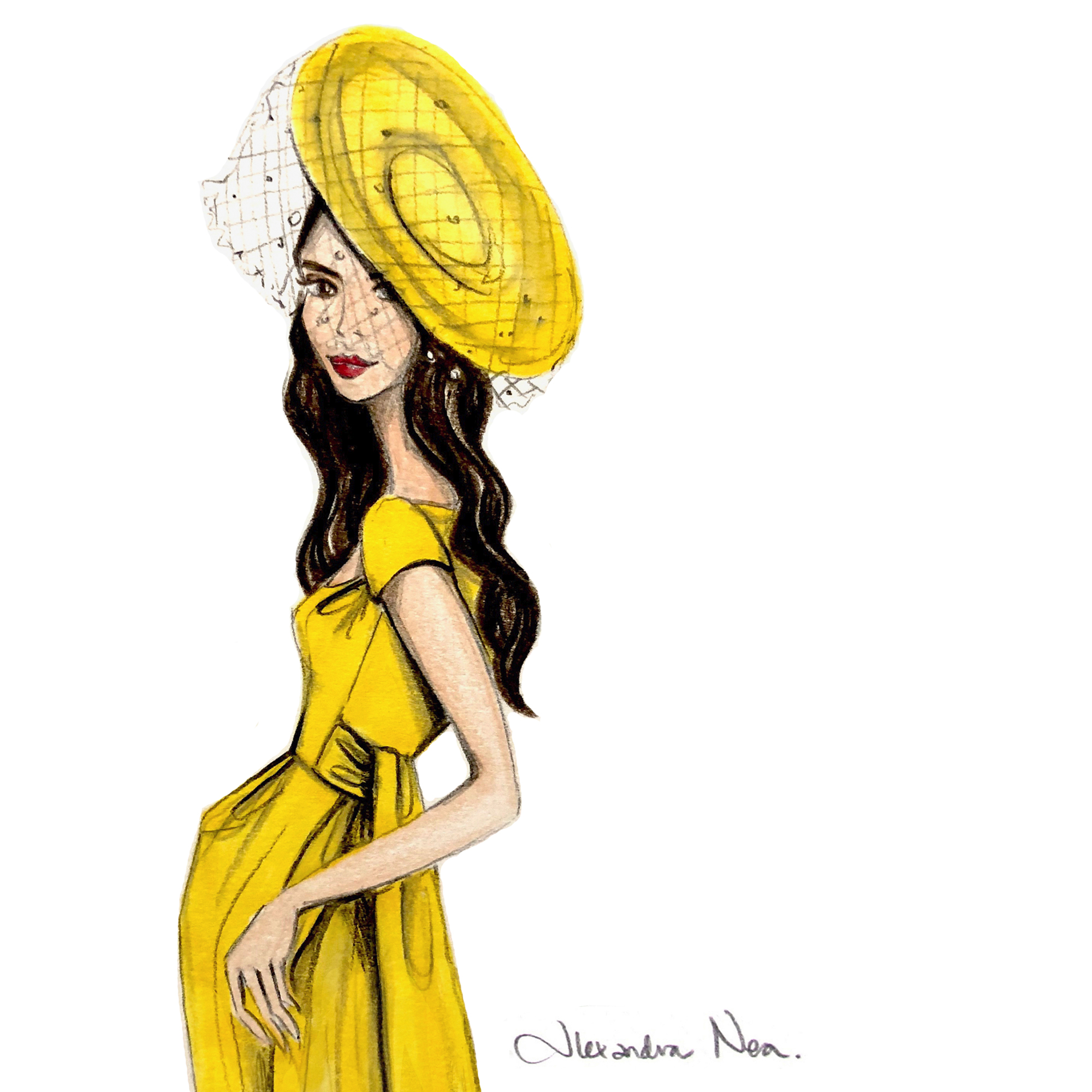 Illustration of royal wedding guest Amal Clooney created by illustrator Alexandra Nea (Alexandra Nea)
